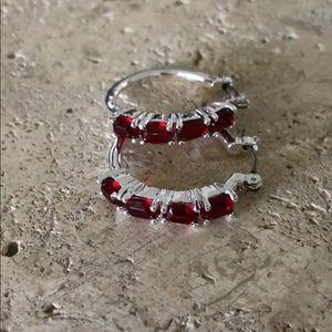 Vintage Avon Ruby Silver tone  Earrings NWOT